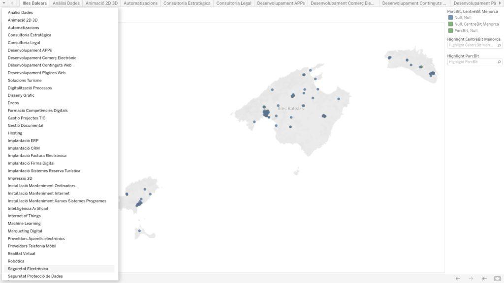Mapa Empresas TIC Islas Baleares. Haz clic en el mapa y podrás realizar búsquedas para tipos de servicios y tecnologías utilizando los filtros.